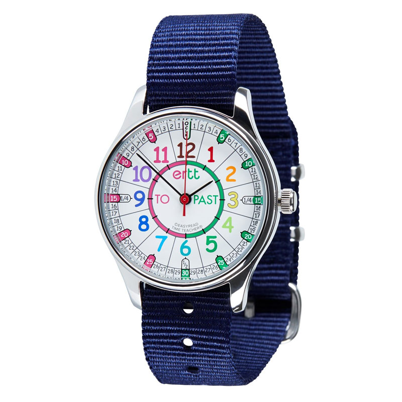 Easy Read Time Teacher Waterproof Wrist Watch - Rainbow Face - Past & To - Navy Strap - WERW-COL-PT-NB