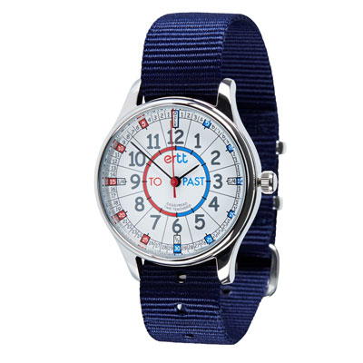Easy Read Time Teacher Waterproof Wrist Watch - Red & Blue Face - Past & To - Navy Strap - WERW-RB-PT-NB