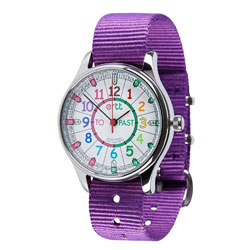 Easy Read Time Teacher Waterproof Wrist Watch - Rainbow Face - Past & To - Purple Strap