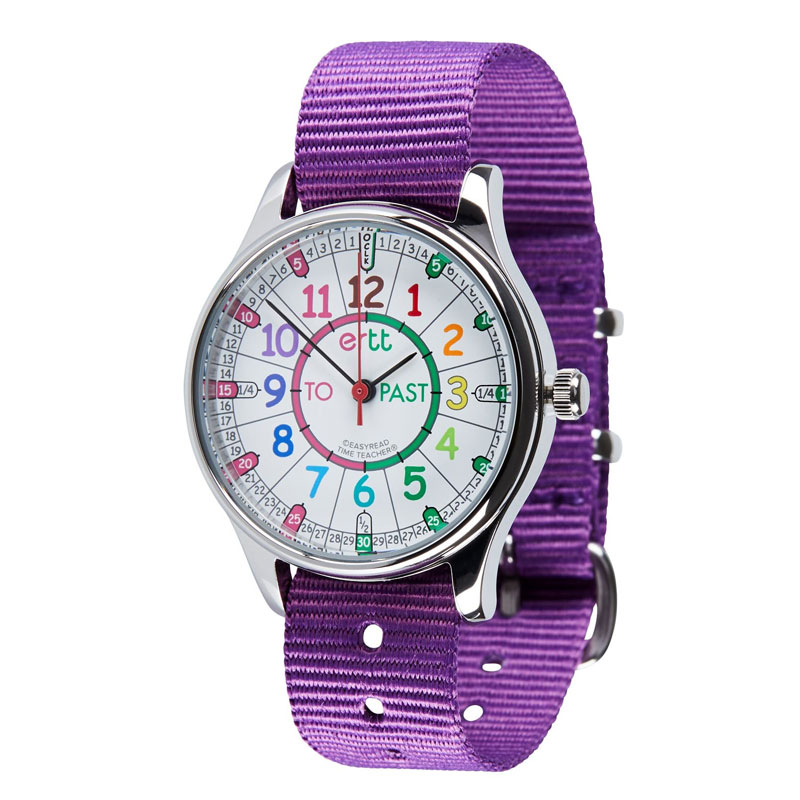 Easy Read Time Teacher Waterproof Wrist Watch - Rainbow Face - Past & To - Purple Strap - WERW-COL-PT-PU