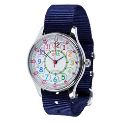 Easy Read Time Teacher Waterproof Wrist Watch - Rainbow Face - 24 Hour - Navy Strap