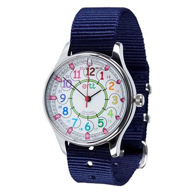 EasyRead Time Teacher Waterproof Wrist Watch - Rainbow Face - 24 Hour - Navy Strap - WERW-COL-24-NB