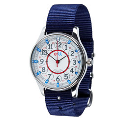 Easy Read Time Teacher Waterproof Wrist Watch - Red & Blue Face - 24 Hour - Navy Strap