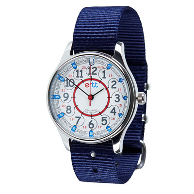 Easy Read Time Teacher Waterproof Wrist Watch - Red & Blue Face - 24 Hour - Navy Strap - WERW-RB-24-NB