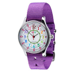 Easy Read Time Teacher Waterproof Wrist Watch - Rainbow Face - 24 Hour - Purple Strap