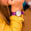 EasyRead Time Teacher Waterproof Wrist Watch - Rainbow Face - 24 Hour - Purple Strap - WERW-COL-24-PU