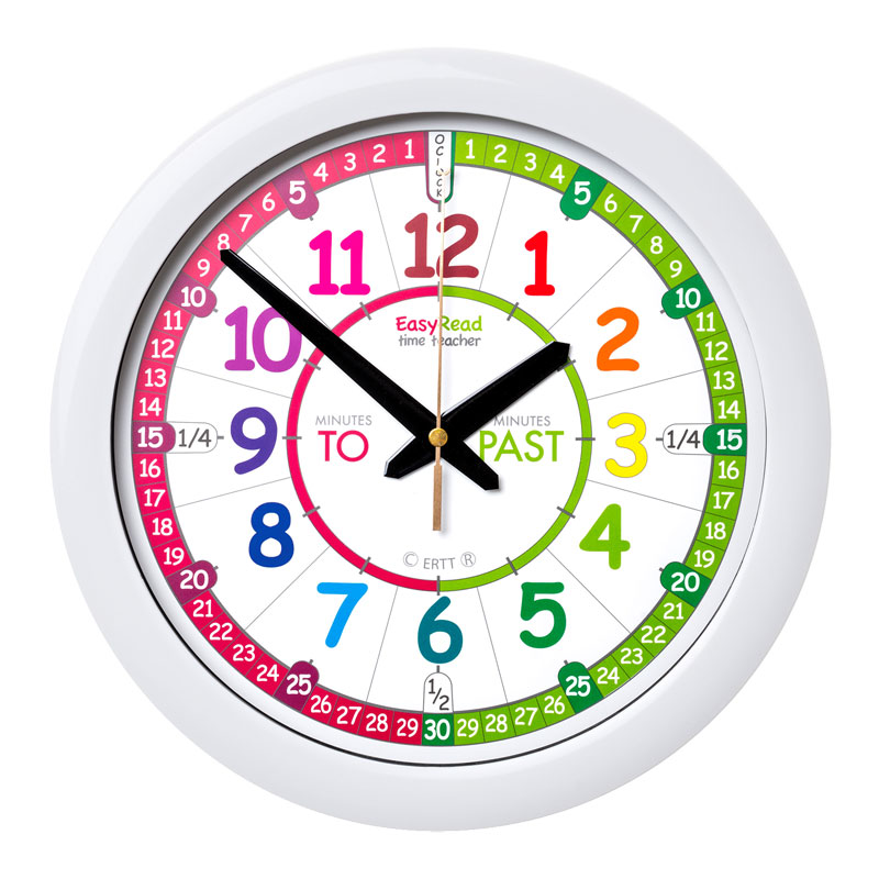 Easy Read Time Teacher Rainbow Face Wall Clock - Past & To - 29cm Diameter - ERTT-EN