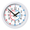 Easy Read Time Teacher Home Classroom Red & Blue Face Wall Clock - Past & To - 29cm Diameter