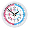 Easy Read Time Teacher Red & Blue Face Wall Clock - Past & To - 29cm Diameter