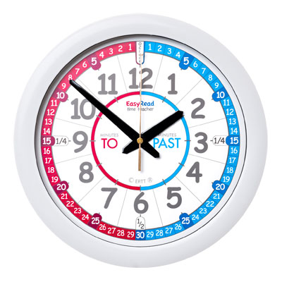 Easy Read Time Teacher Red & Blue Face Wall Clock - Past & To - 29cm Diameter - ERC-RB-PT