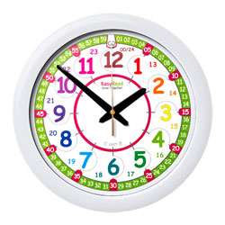 Easy Read Time Teacher Rainbow Face Wall Clock - 24 Hour - 29cm Diameter
