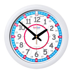Easy Read Time Teacher Red & Blue Face Wall Clock - 24 Hour - 29cm Diameter