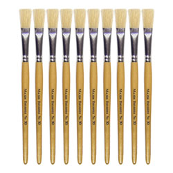 Hog Short Brushes: Flat Tip, Size 10 - Pack of 10