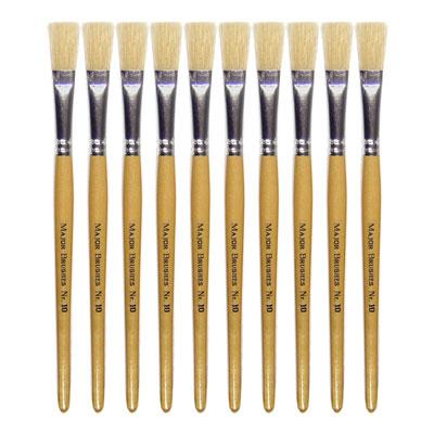 Hog Short Brushes: Flat Tip, Size 10 - Pack of 10 - MB58110-10