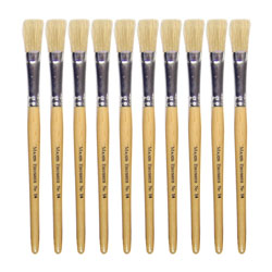 Hog Short Brushes: Flat Tip, Size 14 - Pack of 10