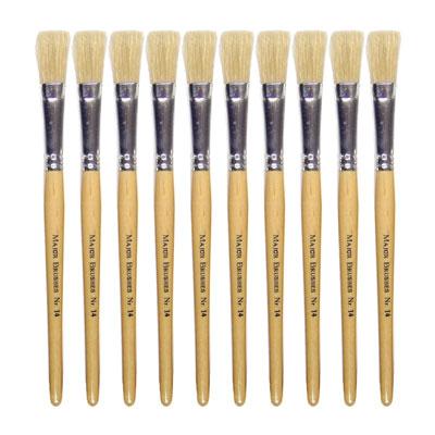 Hog Short Brushes: Flat Tip, Size 14 - Pack of 10 - MB58114-10
