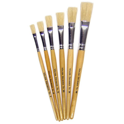 Hog Short Brushes: Flat Tip Mixed Set - Set of 6 - MB581-6