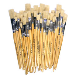 Hog Short Brushes: Flat Tip Mixed Set - Set of 60