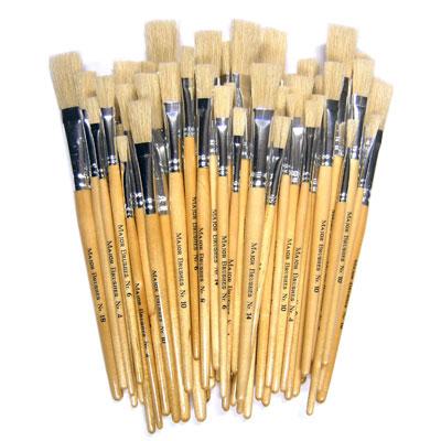 Hog Short Brushes: Flat Tip Mixed Set - Set of 60 - MB581-60