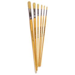 Hog Long Brushes: Round Tip Mixed Set - Set of 6
