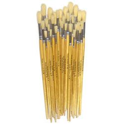 Hog Long Brushes: Round Tip Mixed Set - Set of 30