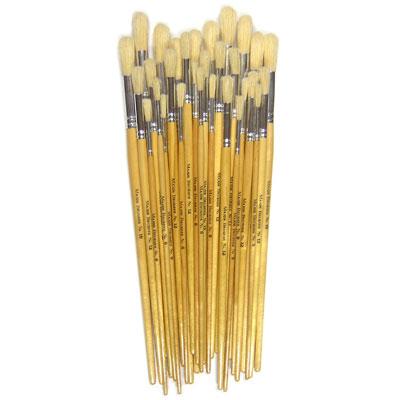 Hog Long Brushes: Round Tip Mixed Set - Set of 30 - MB584-30