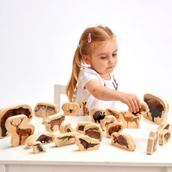 Wooden Forest Animal Blocks - Set of 30