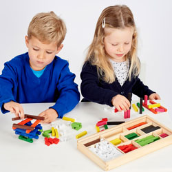 Wooden Cuisenaire Rods Set - with Wooden Storage Tray - Set of 308 Pieces