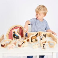 Wooden Farm Blocks - Set of 30