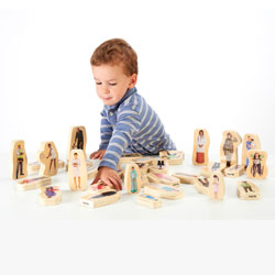 Wooden Community People Blocks - Set of 32