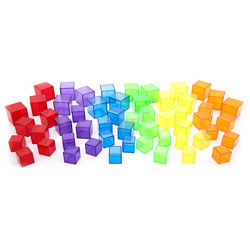 Translucent Colour Rainbow Cube Set - Set of 54