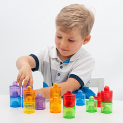 Translucent Colour Rainbow Pot Set - Set of 18