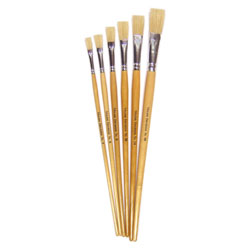 Hog Long Brushes: Flat Tip Mixed Set - Set of 6