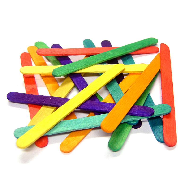 Coloured Lollipop Sticks - Small (114mm x 10mm) - Pack of 1000 - MB7068-1000