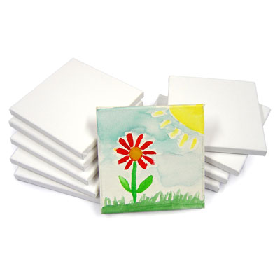 Primed & Stretched Canvas Square - 15cm x 15cm - Pack of 10 - MB-CAN0606-10