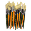 Hog Short Coloured Brushes: Round Tip, Sizes 8/12/18 - Set of 30