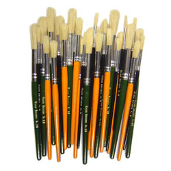 Hog Short Coloured Brushes: Round Tip, Sizes 8/12/18 - Set of 30