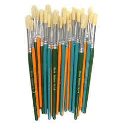 Hog Short Coloured Brushes: Round Tip, Sizes 8/10/14 - Set of 30