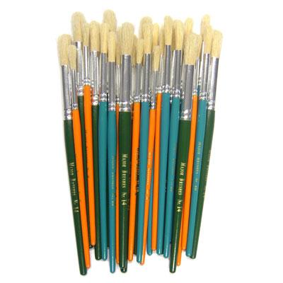 Hog Short Coloured Brushes: Round Tip, Sizes 8/10/14 - Set of 30 - MB583-30S