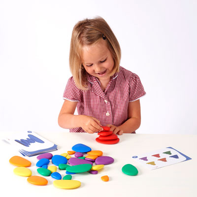 Rainbow Pebbles - Set of 36 Pebbles and 20 Activity Cards - CD54047