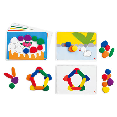 Junior Rainbow Pebbles Activity Set - Set of 36 Pebbles and 8 Activity Cards - CD75154