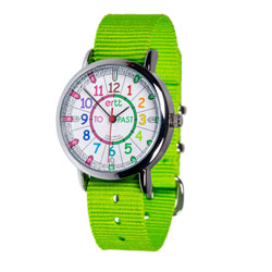 Easy Read Time Teacher Alloy Wrist Watch - Rainbow Face - Past & To - Lime Strap