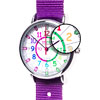 Easy Read Time Teacher Alloy Wrist Watch - Rainbow Face - Past & To - Lime Strap - ERW-COL-PT-L