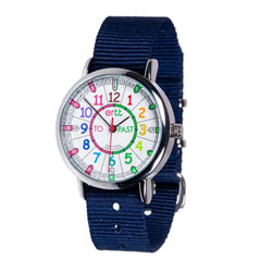 Easy Read Time Teacher Alloy Wrist Watch - Rainbow Face - Past & To - Navy Blue Strap