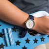 Easy Read Time Teacher Alloy Wrist Watch - Rainbow Face - Past & To - Navy Blue Strap - ERW-COL-PT-NB