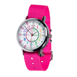 Easy Read Time Teacher Alloy Wrist Watch - Rainbow Face - Past & To - Pink Strap