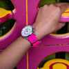 Easy Read Time Teacher Alloy Wrist Watch - Rainbow Face - Past & To - Pink Strap - ERW-COL-PT-PK