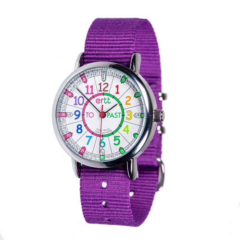 Easy Read Time Teacher Alloy Wrist Watch - Rainbow Face - Past & To - Purple Strap - ERW-COL-PT