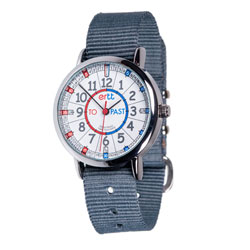Easy Read Time Teacher Alloy Wrist Watch - Red & Blue Face - Past & To - Grey Strap
