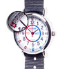 Easy Read Time Teacher Alloy Wrist Watch - Red & Blue Face - Past & To - Grey Strap - ERW-RB-PT